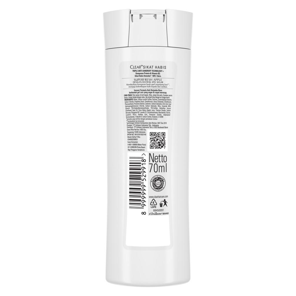 Clear Shampoo Anti Ketombe Super Fresh Apple 70 Ml-2