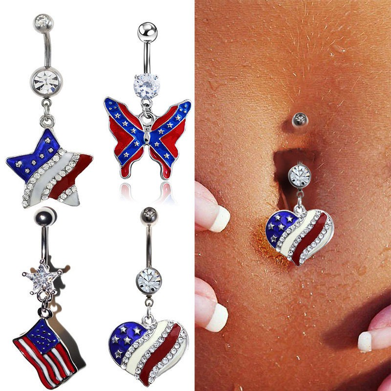 Cobalt Blue Triangle Crystals Belly Button Navel Ring Body Jewelry Piercing