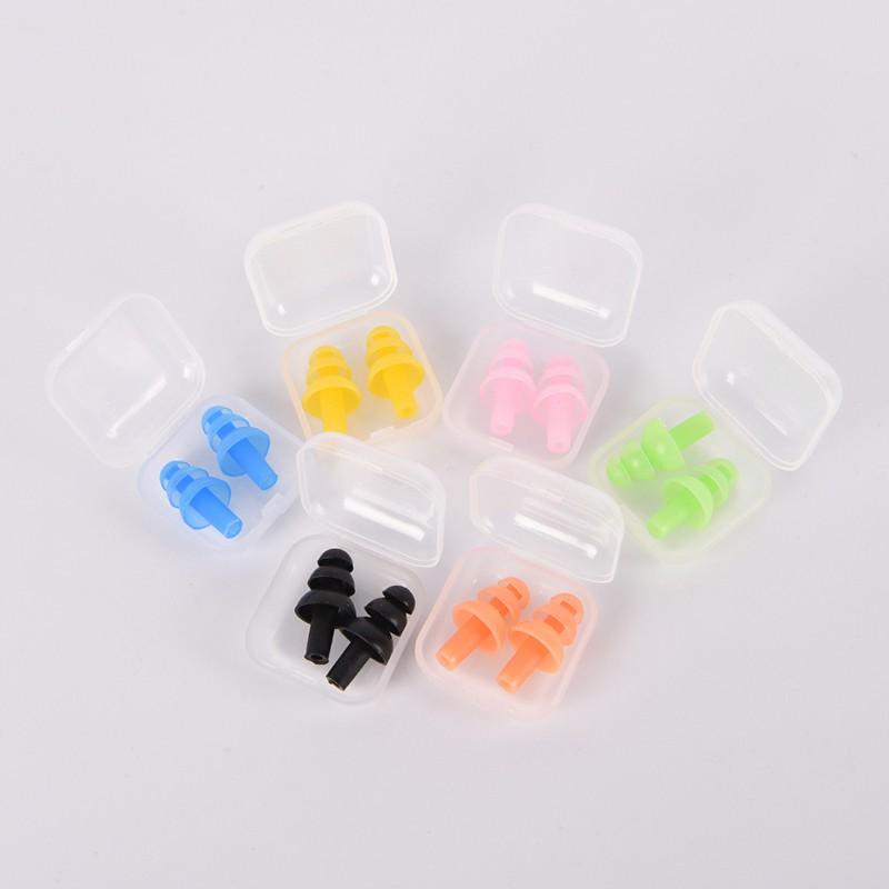 6Pcs Orange Soft Silicone Ear Plugs Earplugs /& Box Case for Swimming Bathing