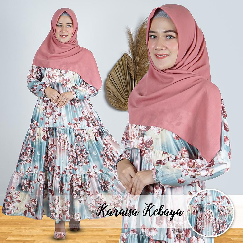 GAMIS MOTIF BUNGA MODEL TERBARU / FLOWER DRESS BY KARAISA