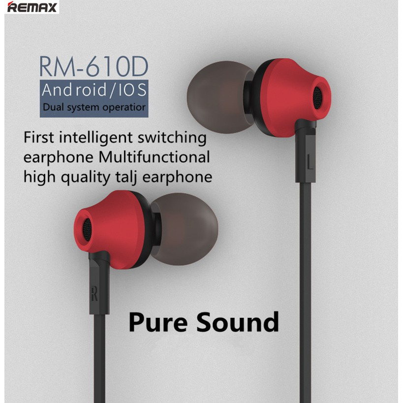 REMAX 3.5mm In-Ear Stereo Earphone with Microphone and Volume Control RM- 610D | Shopee Indonesia