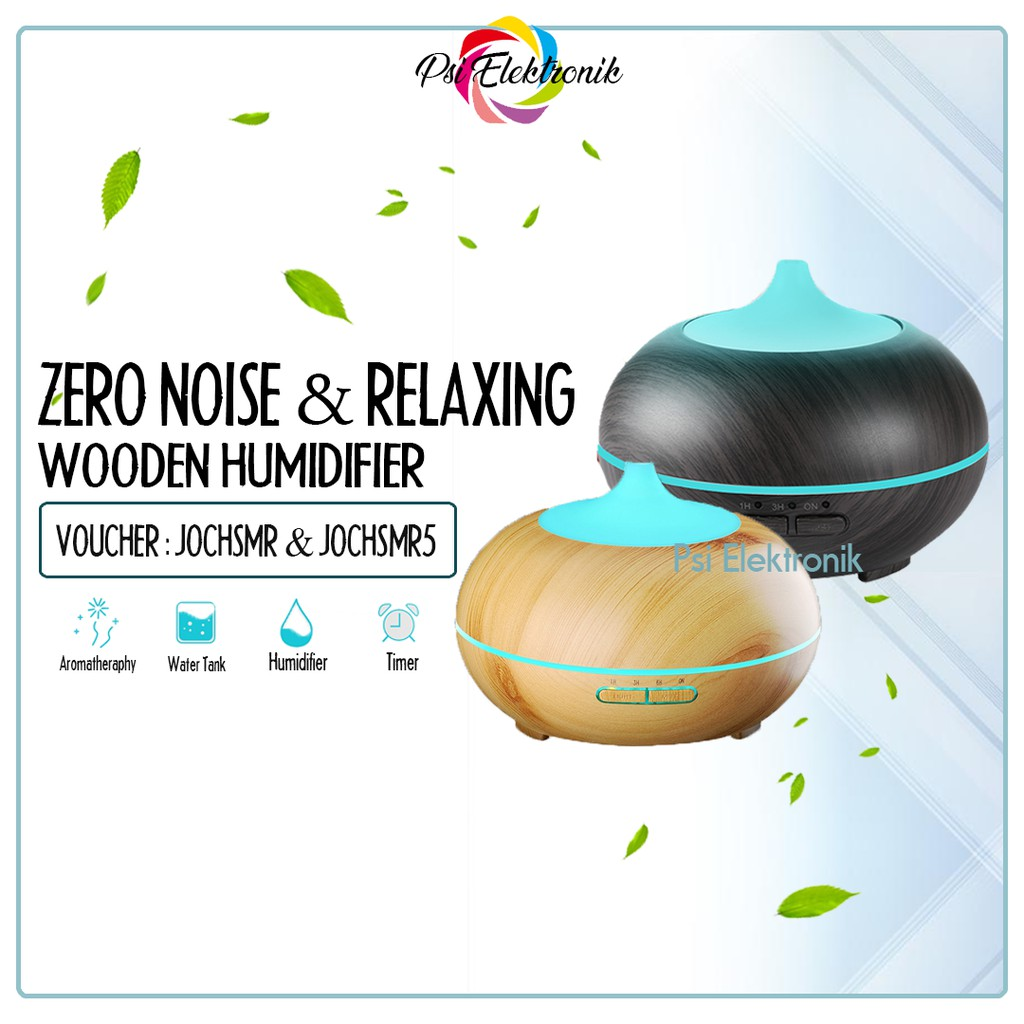 Diffuser Aromatherapy Wooden Humidifier LED Colour 400ML MURAH ORIGINAL  IMPORT