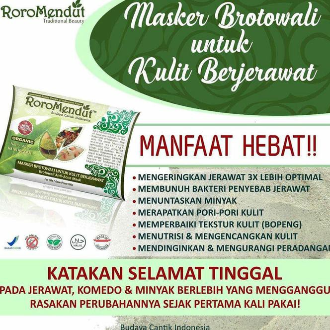 BPOM MASKER BROTOWALI UNTUK KULIT BERJERAWAT RORO MENDUT | Shopee Indonesia