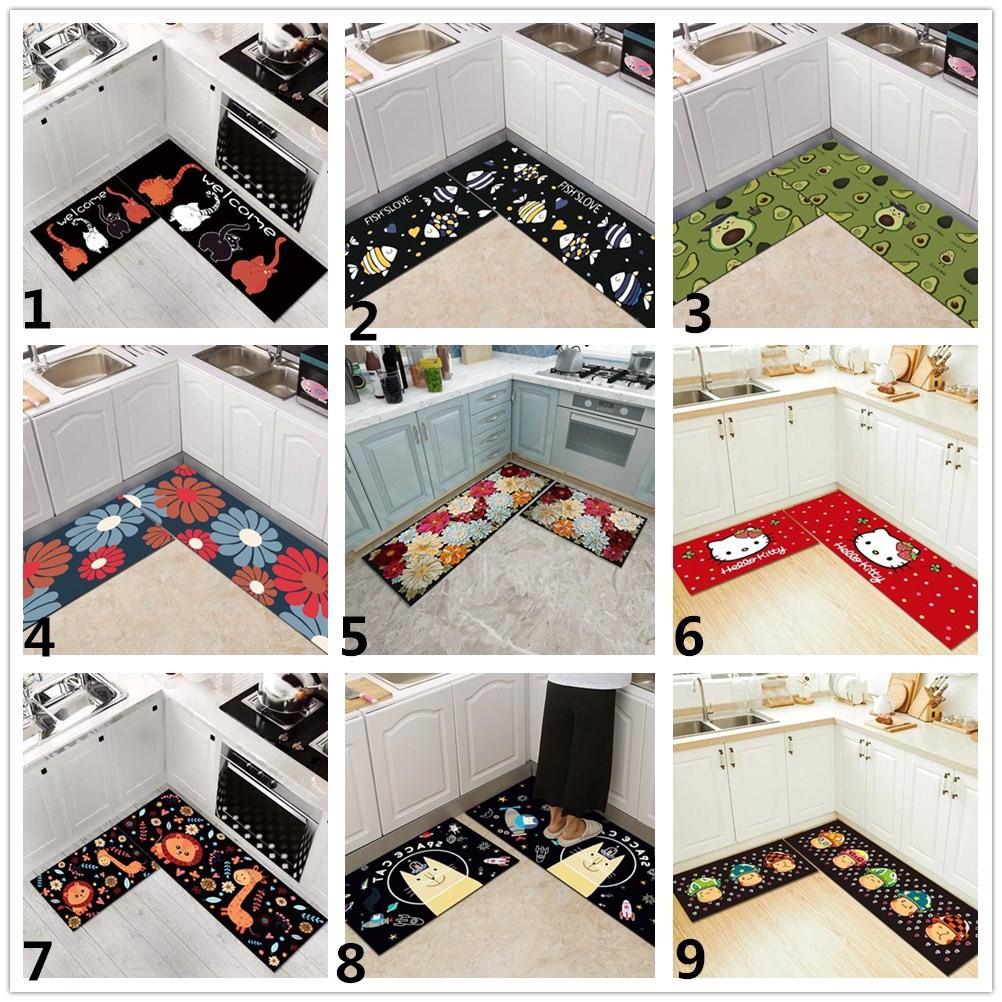 2pcs Set Black Cartoon Printed Kitchen Floor Mats Anti Slip Living Room Bedroom Area Rugs Shopee Indonesia