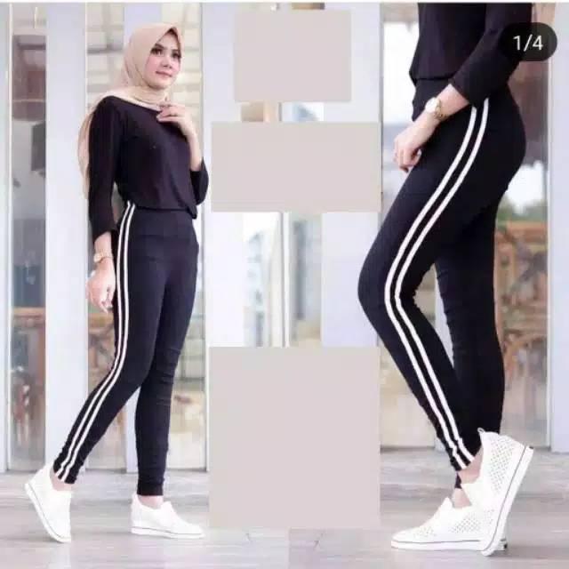 Legging 2 Garis Putih Shopee Indonesia