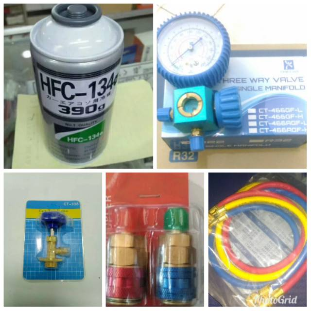 Paket Isi Freon Ac Mobil Anda Hfc R134a Freon R134a Kaleng Sightglass Shopee Indonesia