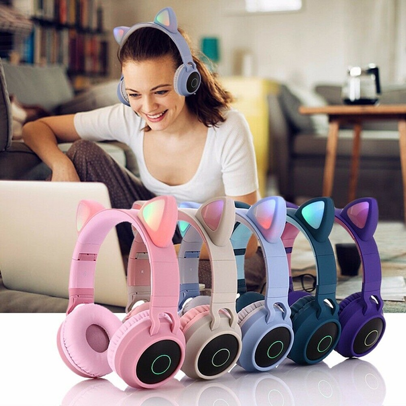 Henset Bluetooth Headphone Anak Headset Gaming Cewek kucing Telinga Kucing Led Bluetooth 5.0,