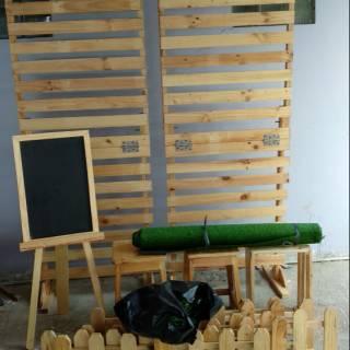 partisi pembatas ruangan kayu jati belanda model rustic