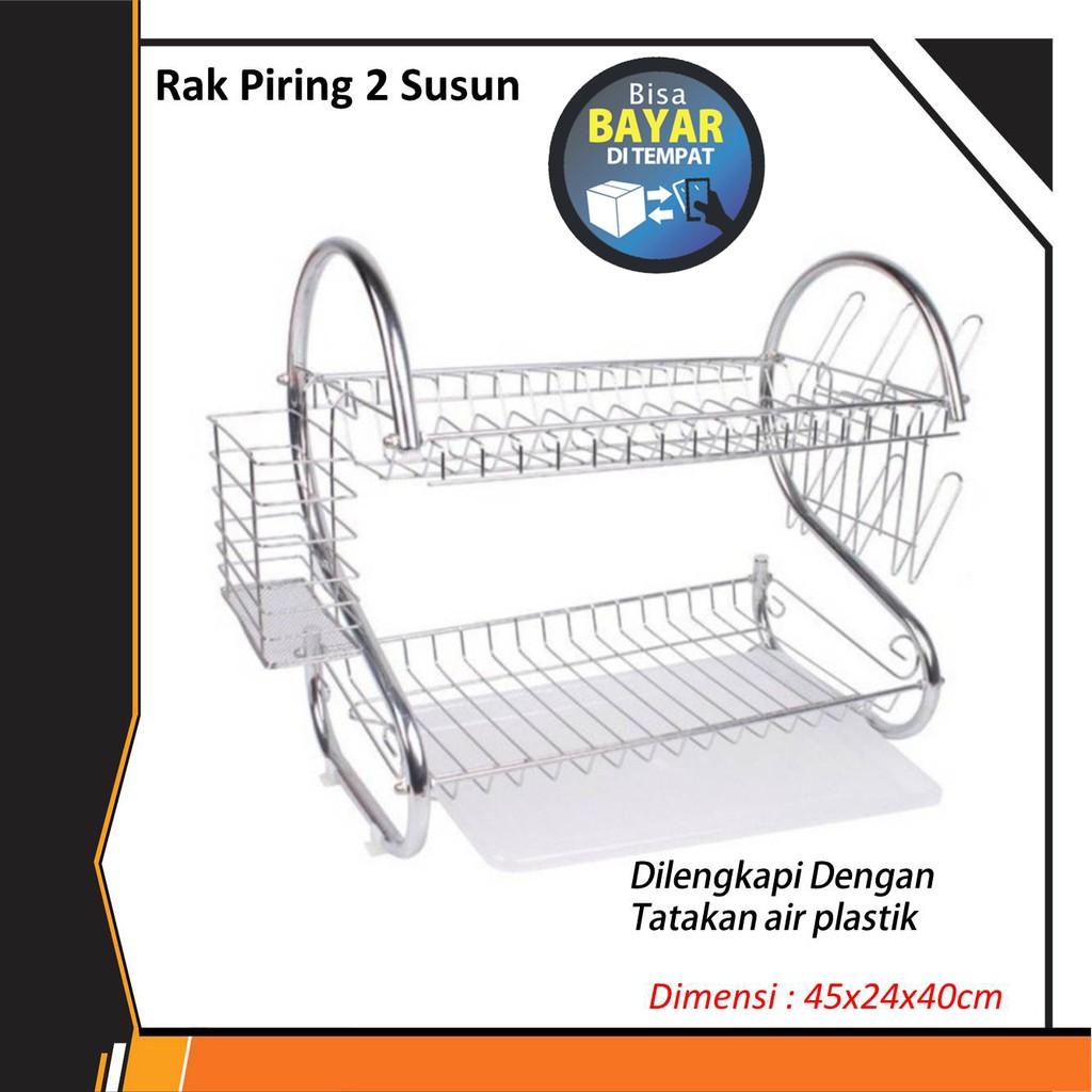 rak piring 2 susun layer tingkat stainless steel kombinasi plastik dish drainer (1kg) | Shopee Indonesia