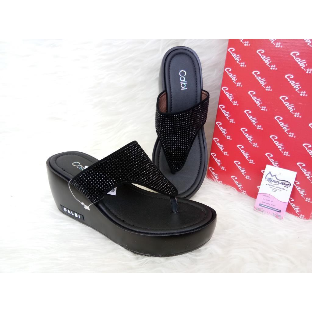 Sandal Wedges Wanita - Calbi KLX 1291 Hitam - Wedges Murah Berkualita  4d6a1ea22d
