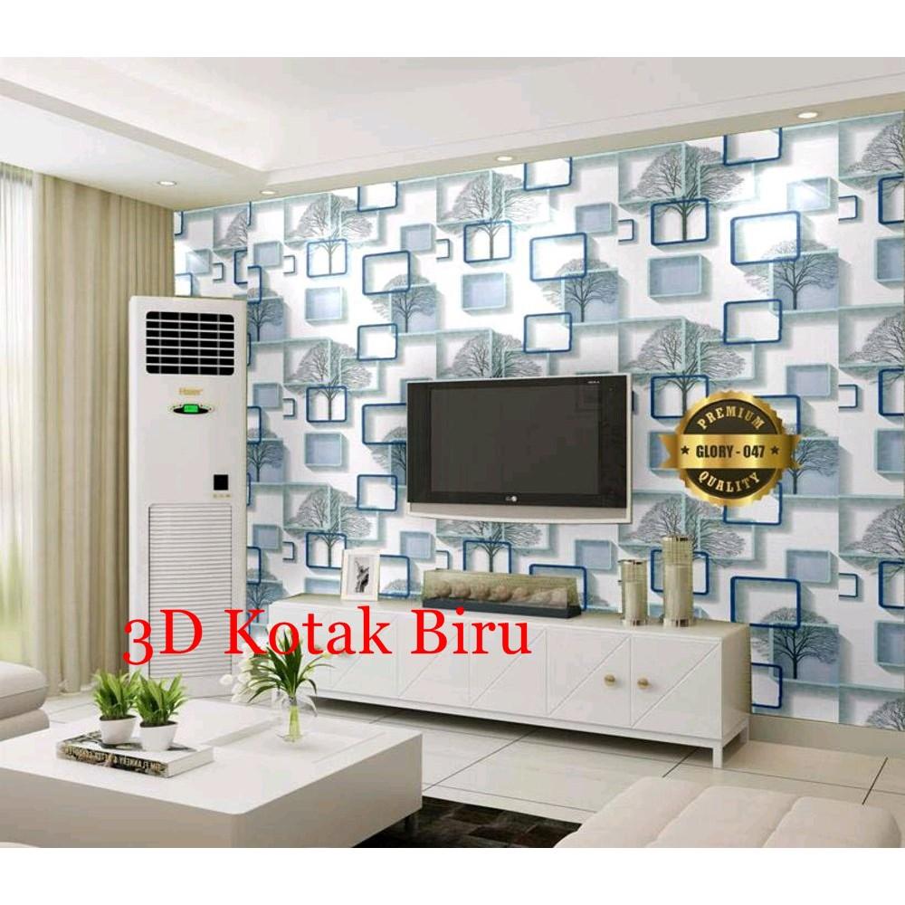 Wallpaper Dinding 45 Cm X 9 5 M 3d Kotak Biru