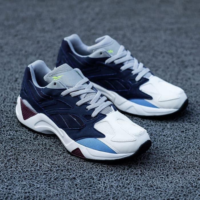 Sepatu Pria Reebok Aztrex 96 Navy Maroon Sneakers Cowok Original