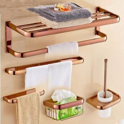 Brass Bathroom Accessories Set Rose Gold Hook Paper Holder Towel Bar Soap Basket Towel Rack Bathroom Hardware Set Shopee Indonesia