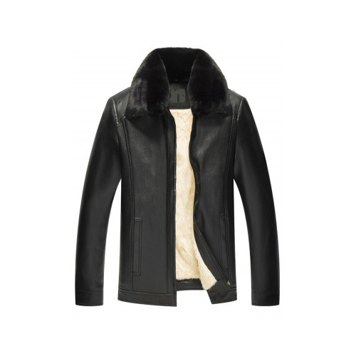 Fur Collar Zipper Warmth Pu Leather Jacket .