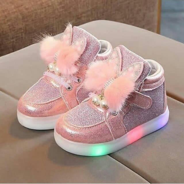 Sepatu Anak Perempuan Cewe Cewek Led Lampu Nyala Menyala Pom Pom