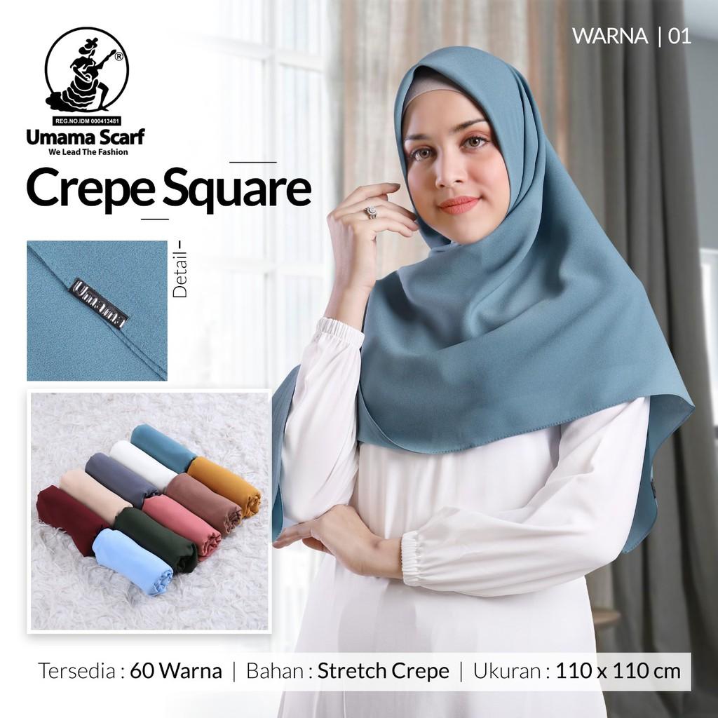Jilbab Crepe Square Umama Kerudung Segiempat Stretch Shopee Indonesia
