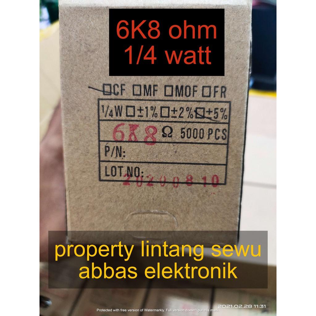 10PCS resistor 6k8 ohm 6800 ohm 0.25 watt 1/4 watt