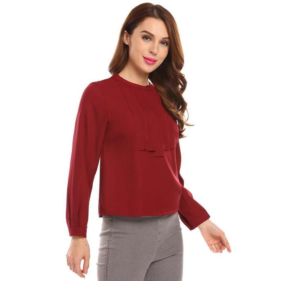 Women New Fashion Casual Summer Long Sleeve Solid Color Tops Blouse Ada Basic Wanita Lengan Panjang Putih Bahan Poliester Xl Shopee Indonesia