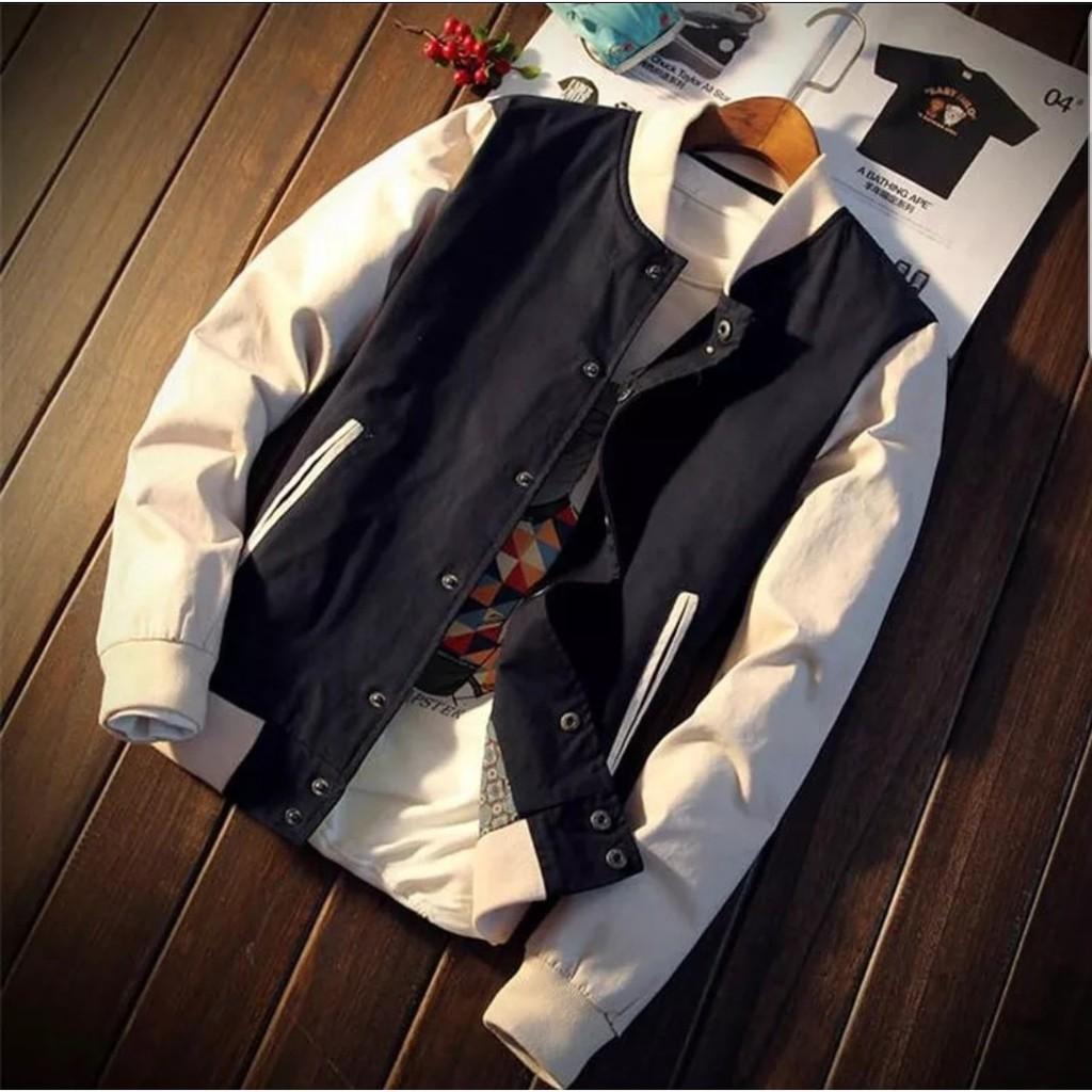 Fashion Pria Jaket Baseball Simple Slim Casual Warna Polos Untuk Karlit Fleece Button Musim Semi Gugur Shopee Indonesia