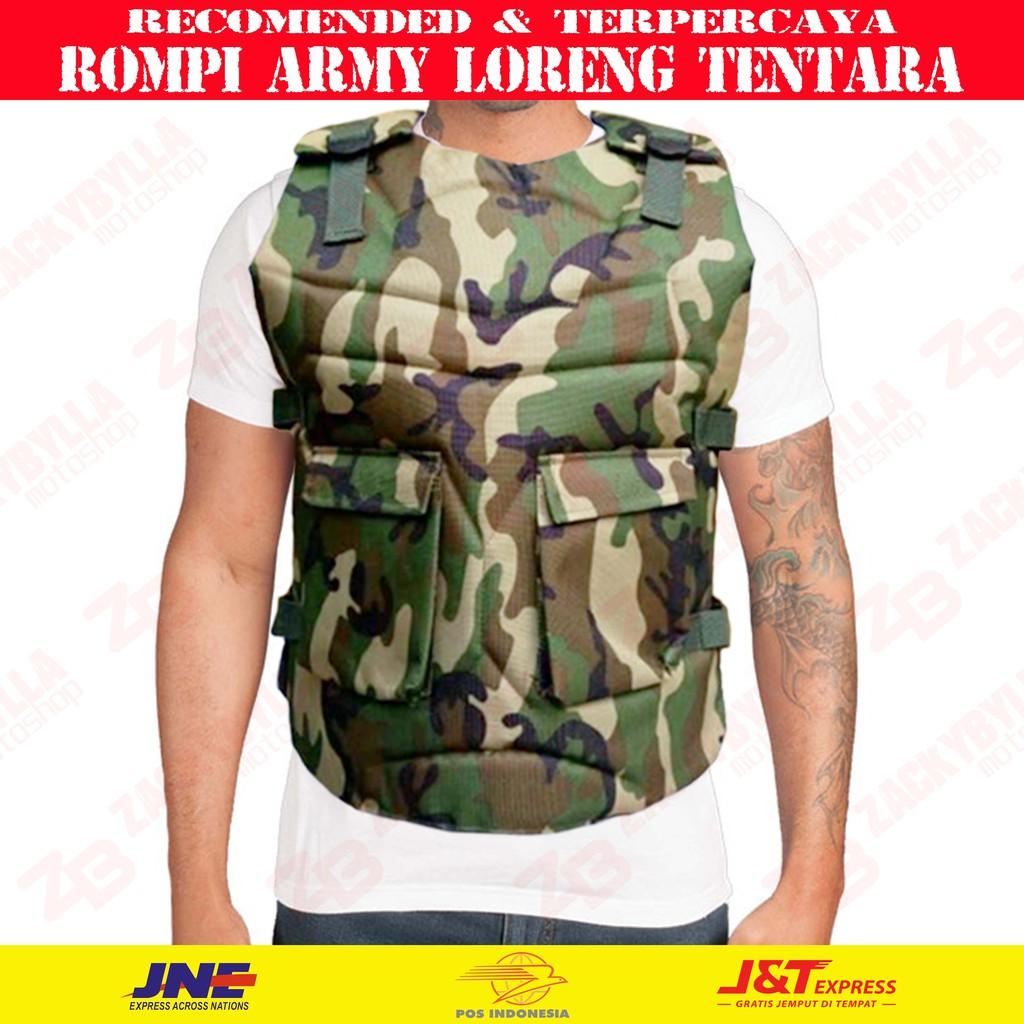 Rompi Army Loreng Tentara Hijau Pelindung Dada Body Protector Motor Touring Tahan Angin Easy Vest Shopee Indonesia