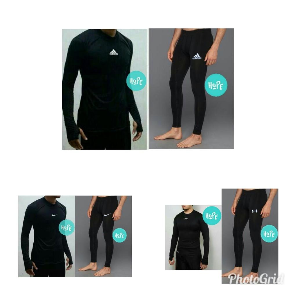Promo Stelan Baselayer Thumbhole Jari Dan Celana Legging Kiper Yoga Lari Jogging Pria Wanita Shopee Indonesia