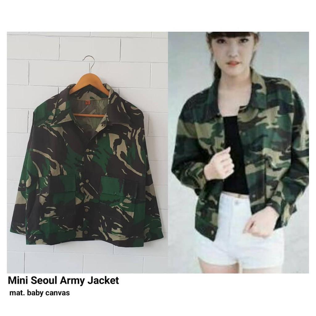 Jaket Mini Seoul Army Jacket Wanita Loreng Outwear Vest Cardigan Aristotle Abri Shopee Indonesia
