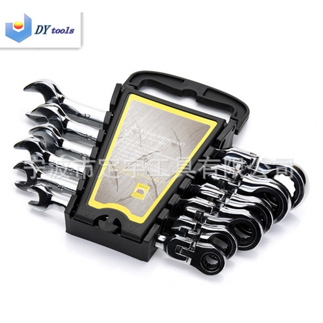 6 Piece 8-17mm Metric Flexible Ratcheting Wrench Combination Spanner Tool Set US