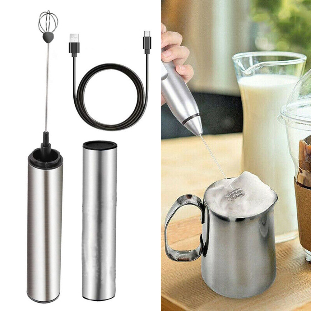 Handheld Electric Milk Frother Maker,USB Rechargeable Stainless Steel Electric Milk Frother Foam Maker Coffee Decor Tool