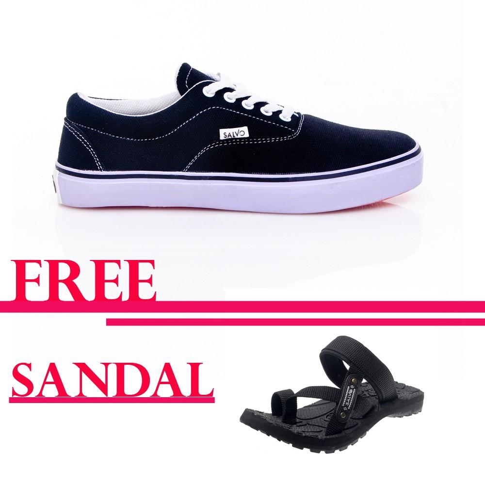 Salvo sepatu sneaker A03 hitam free sandal gunung hitam 01 | Shopee Indonesia