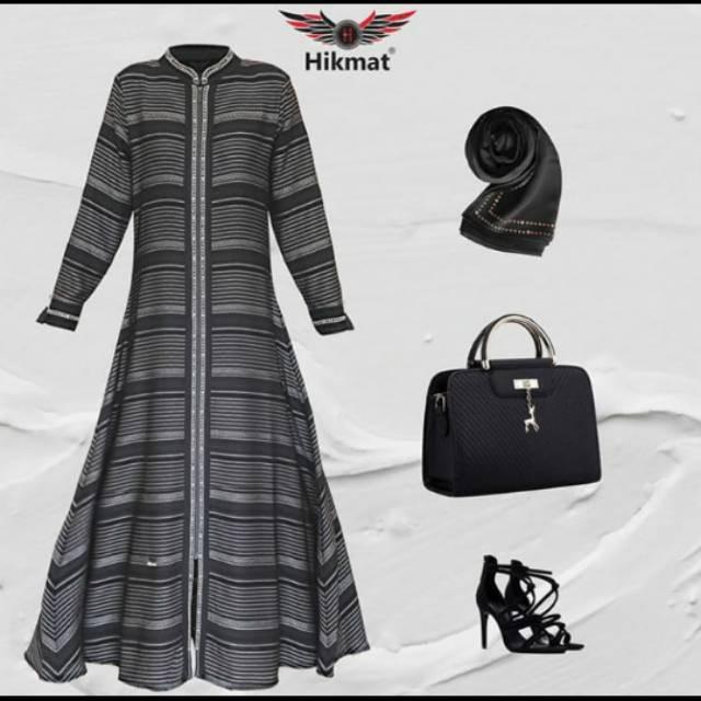 Promo Busana Muslim Abaya Hikmat Fashion Kode A 9960 Black Elegan Shopee Indonesia