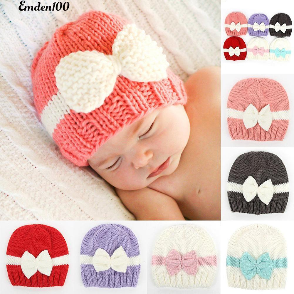Topi Bayi Baru Lahir Warna Blok Ikatan Simpul Rajutan Beanie ... 6918b7ae0a