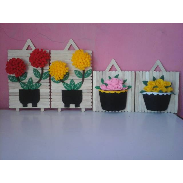 Hiasan Dinding Bunga Dari Kain Flanel Hiasan Dinding Stik Es Krim Shopee Indonesia
