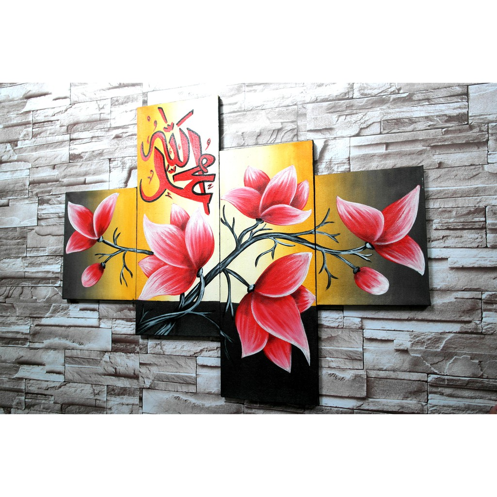 Lukisan Kaligrafi Bunga D92e Hiasan Dinding Dekorasi Rumah Shopee Indonesia