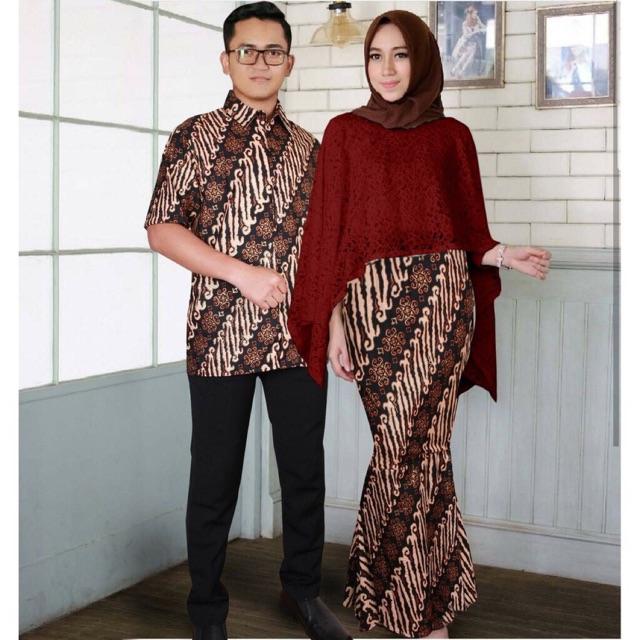 Couple Batik Atasan Brukat Rok Batik Prada Mengkilap Model Rok Duyung Bahan Brokat Gliter Import