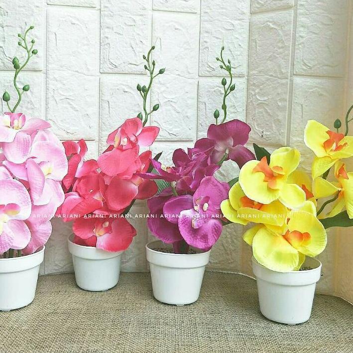 Buruan Dapetin Set Bunga Plastik Anggrek Kain X1 Dengan Pot Plastik Bulat Putih Top Selling Shopee Indonesia