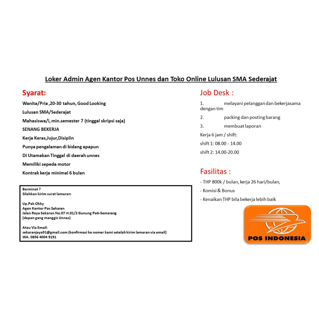 Loker Admin Agen Kantor Pos Unnes Dan Toko Online Semarang Shopee Indonesia