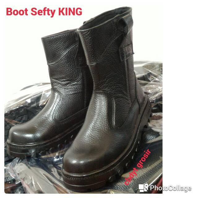 Fdcollection Sepatu safety boot bahan kulit sapi asli type buck atau kulit balik | Shopee Indonesia