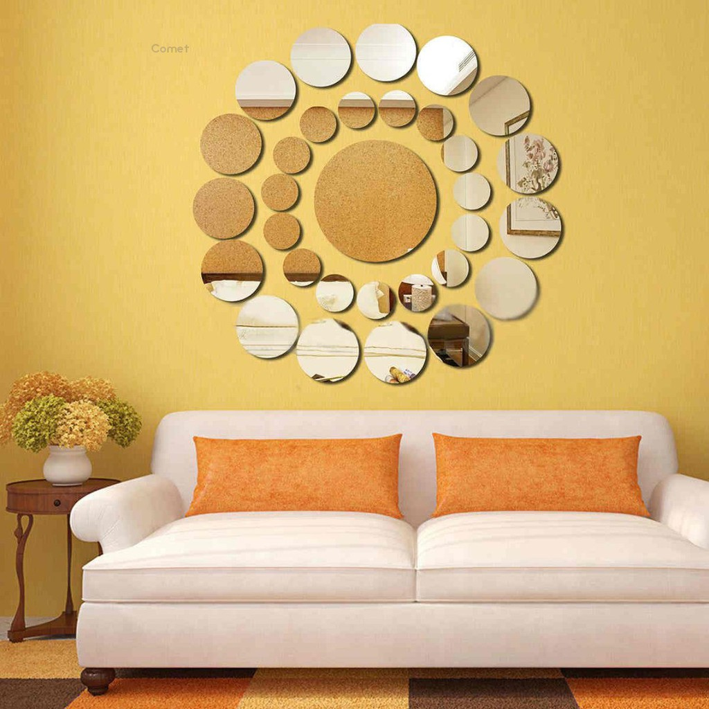 31PCS  Round Mirror Wall Sticker Acrylic Surface Decal Home Room DIY Decor US