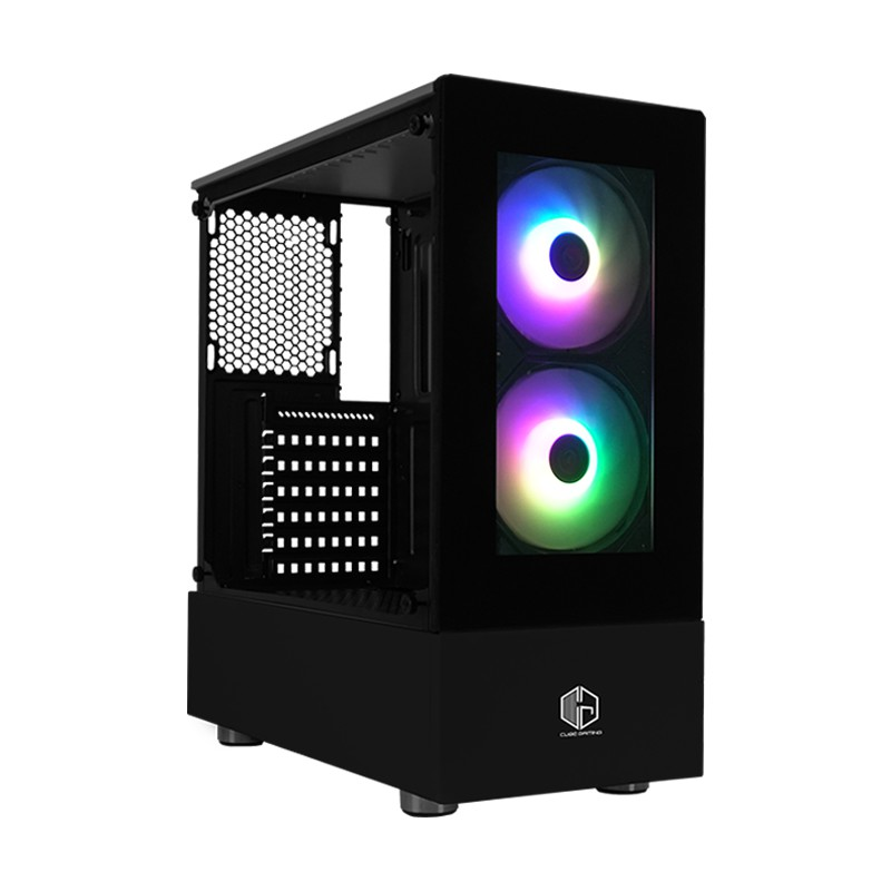 Case Cube Gaming Cabazon Black Atx Free 2 Fans Rainbow Tempered Glass Shopee Indonesia