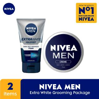 NIVEA MEN Extra Whitening Dark Spot Minimizer Facial Foam + Crème - Grooming Package