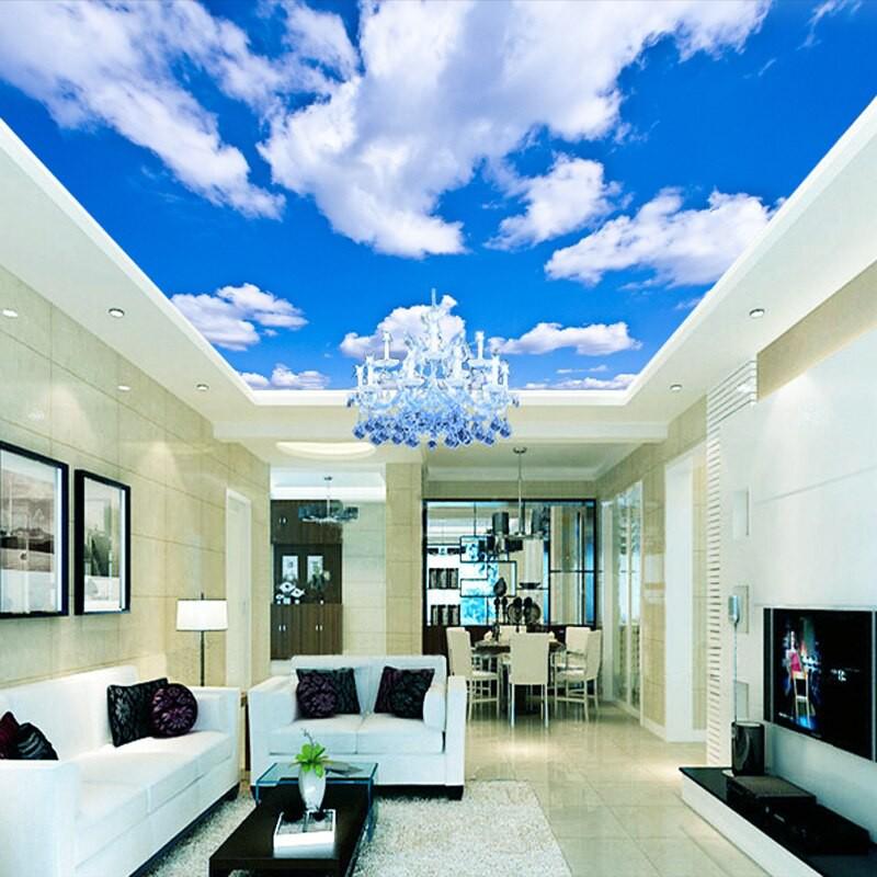 8d Crystal Wall Ceiling Mural Wallpaper For Ceiling Sky Cloud Sun