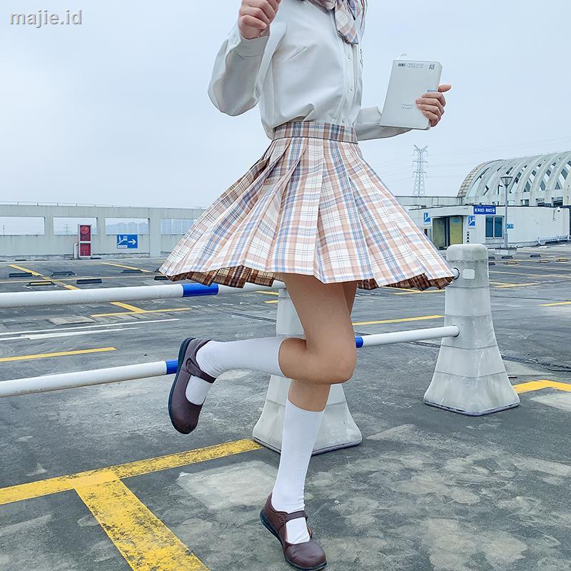 Bu Yijiang Rok Mini Lipit Motif Kotak-Kotak Gaya Jepang Untuk Wanita/Musim Gugur