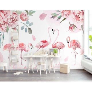 wallpaper desain bunga mawar 3d warna pink untuk dekorasi