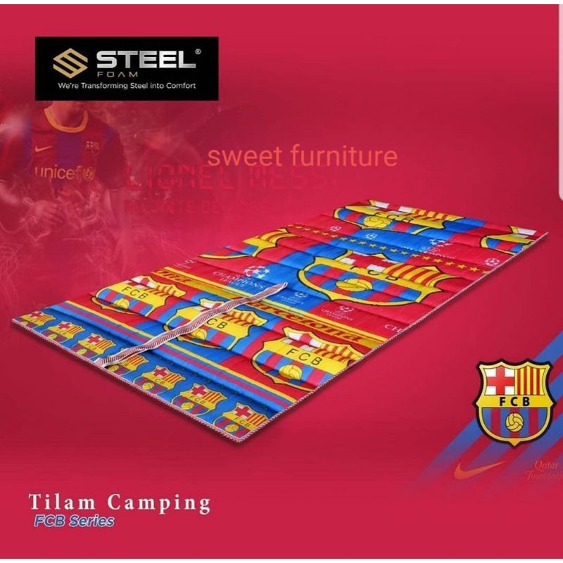 tilam busa camping steel 3 kaki uk 90 × 190 cm