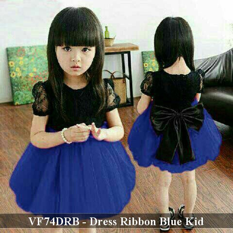 dress anak murah - dress pesta anak bagus - VF74DRR - Dress Ribbon Red fit 3 -5 tahun  fba54bd28a
