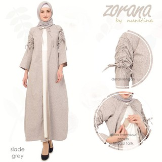 Gamis Busui Zorana Slide Grey Abu Baju Menyusui Maxi Long Dress