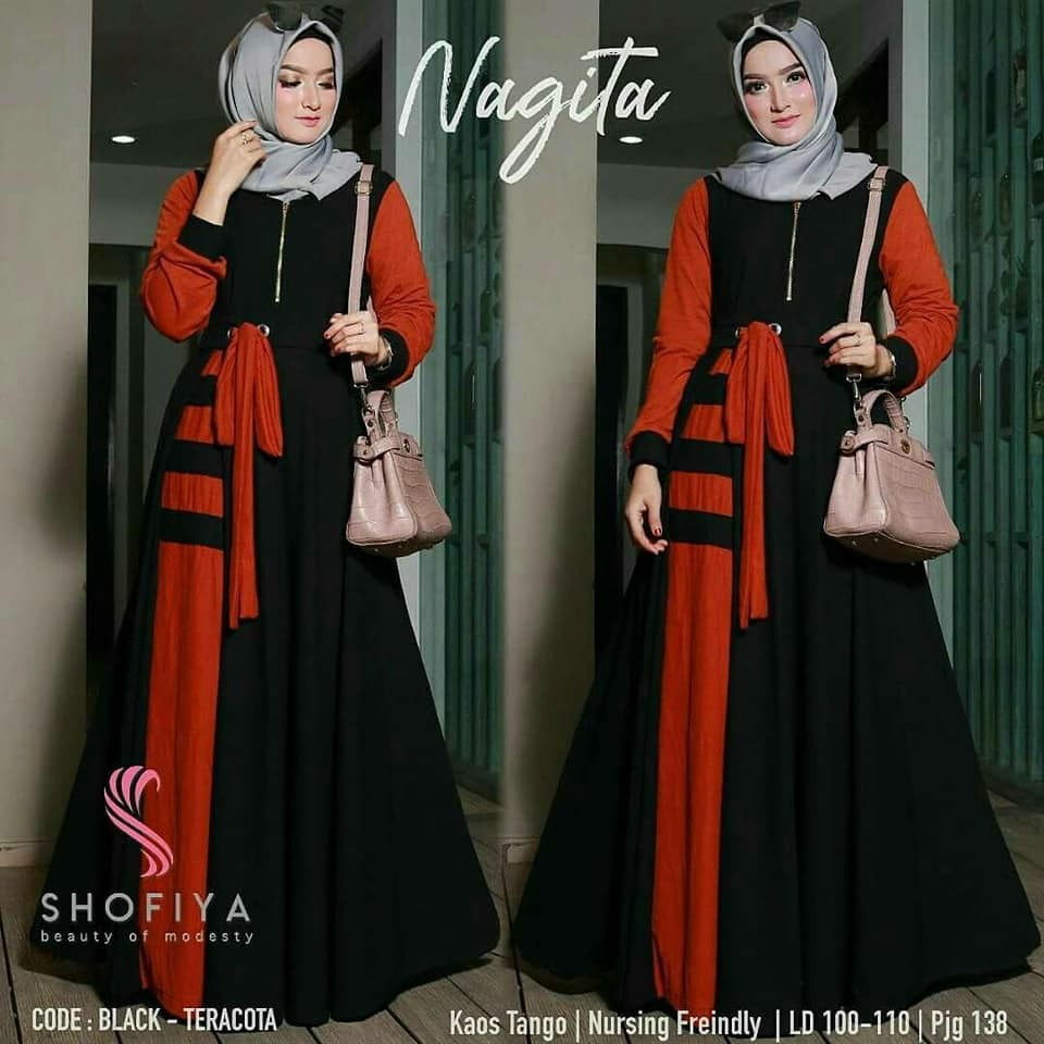 Gamis Syari Zefanya Maxi Dress Flowy Shopee Indonesia Long