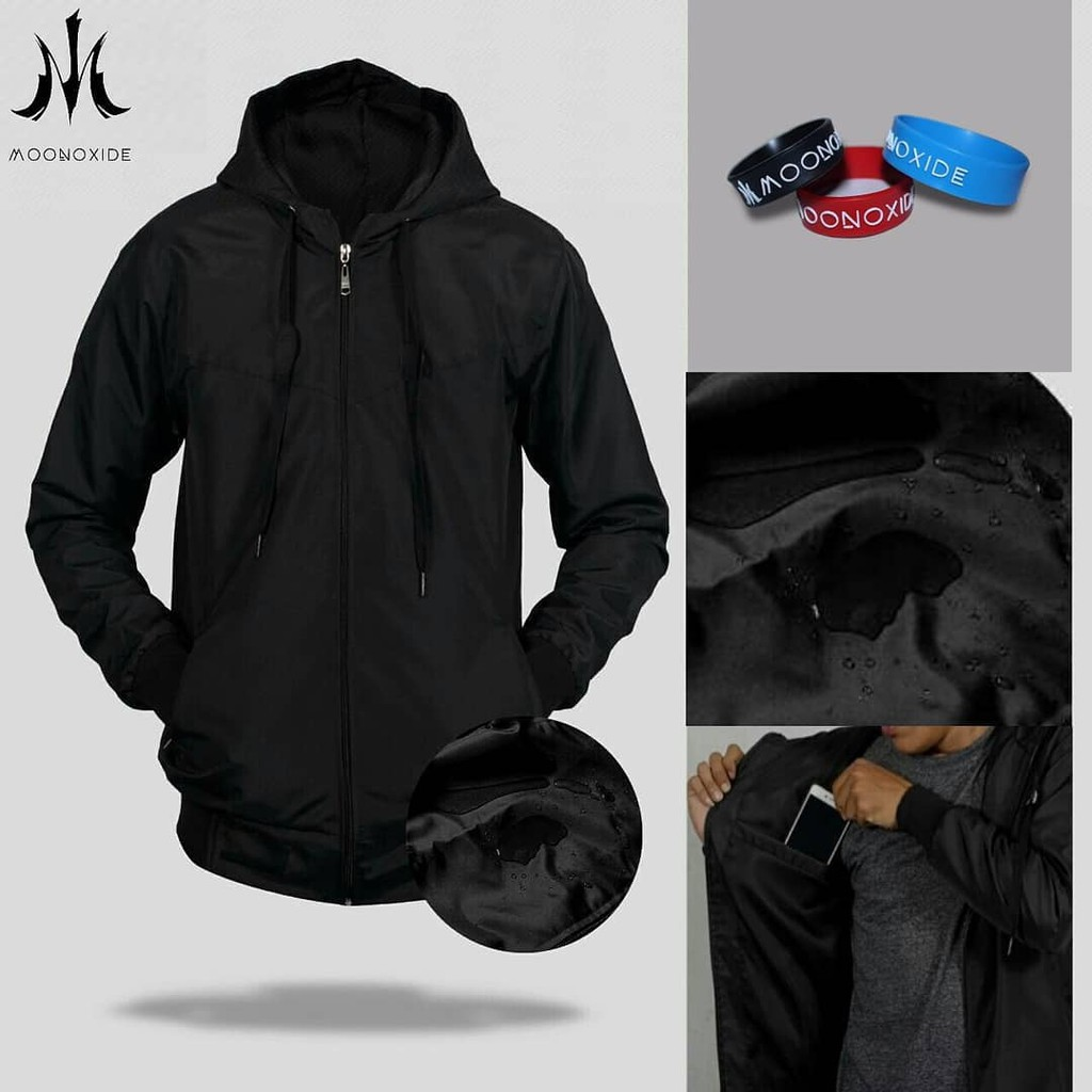 Kalibre EDGE 01 Jaket Gunung Hoodie Outdoor Anti Air Waterproof Water Resistant Hitam Running Jacket | Shopee Indonesia