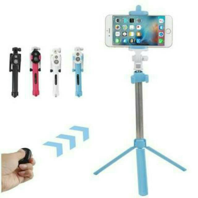 Gshop Tongsis 3 in 1 Selfie Stick Built In Bluetooth Tripod Gold + Lampu Selfie |