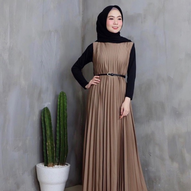 Gamis full plisket / gamis plisket murah bahan hihget bisa cod | Shopee Indonesia